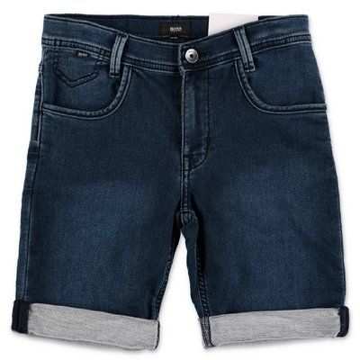 HUGO BOSS shorts blu in denim di cotone stretch