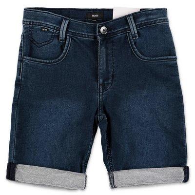 HUGO BOSS blue stretch cotton denim shorts