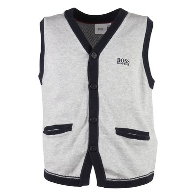 Grey cotton knit vest with embroidered logo