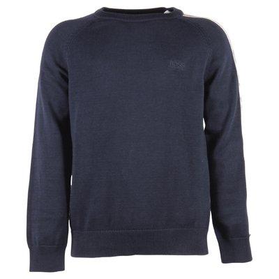 Pullover blu in maglia di cotone con logo