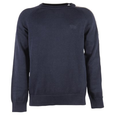blue cotton knit boy logo detail pullover
