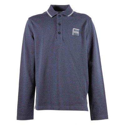 Polo blu in piquet di cotone con logo