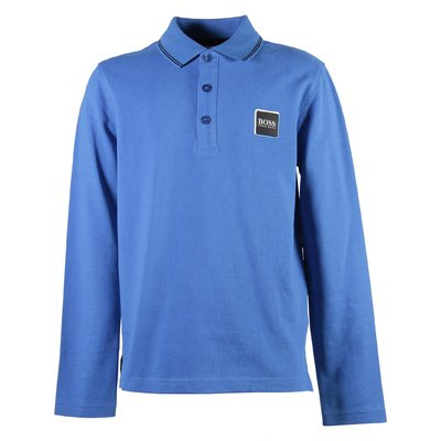 Ligh blue logo detail cotton piquet polo shirt
