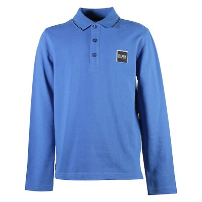 Polo bluette in piquet di cotone con logo