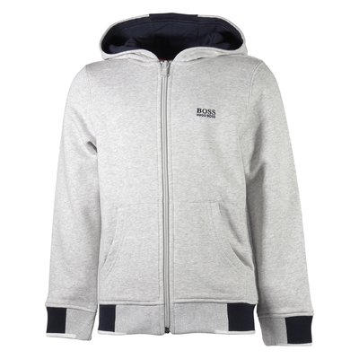 Marled grey zip-up cotton hoodie