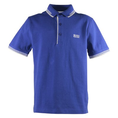 Blue logo detail cotton piquet polo shirt