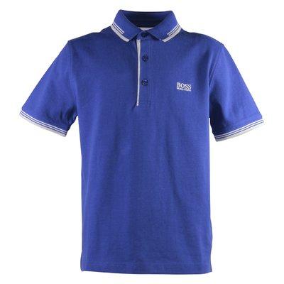 Blue logo detail cotton piquet polo shirt