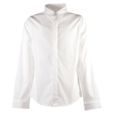 White logo detail cotton poplin shirt
