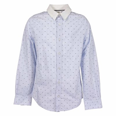 HUGO BOSS sky blue striped cotton poplin shirt