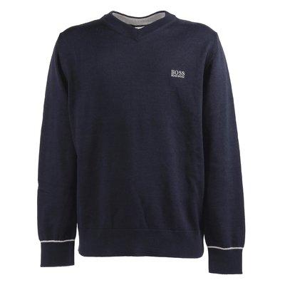 Navy blue cotton knit jumper