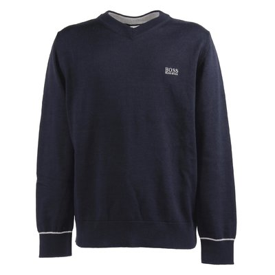 Navy blue cotton knit jumper