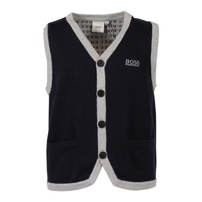 Navy blue cotton knit sweater vest