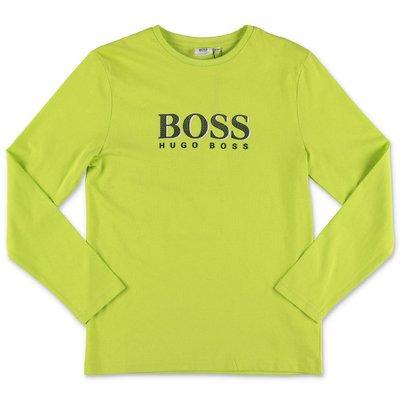 Hugo Boss t-shirt verde limone in jersey di cotone con logo