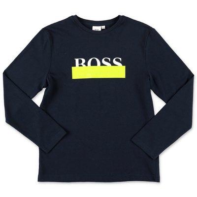 Hugo Boss logo navy blue cotton jersey t-shirt