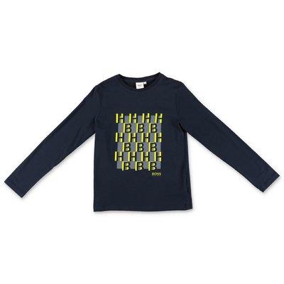 Hugo Boss t-shirt blu navy in jersey di cotone con dettaglio logo