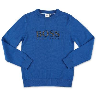 Hugo Boss pullover blu royal in maglia di cotone con logo