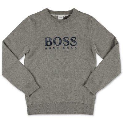 Hugo Boss grey logo detail cotton knit jumper