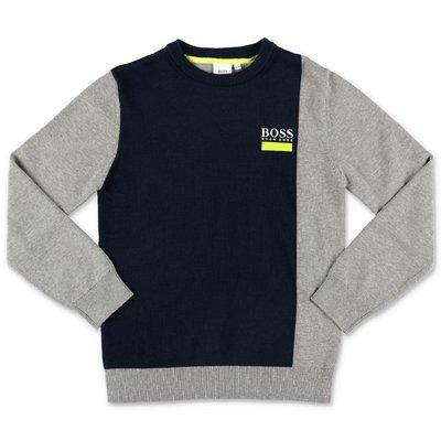Hugo Boss pullover grigio e blu navy in maglia di cotone