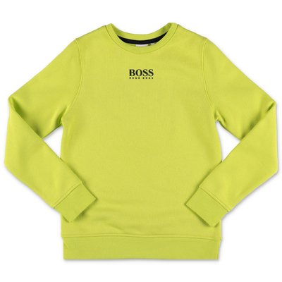 Hugo Boss felpa verde acido in cotone