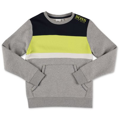 Hugo Boss marled grey cotton sweatshirt hoodie with contrasting color details