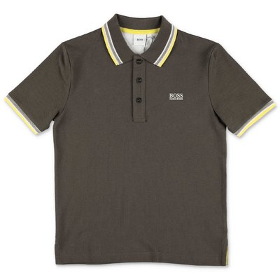HUGO BOSS polo verde militare in piquet di cotone