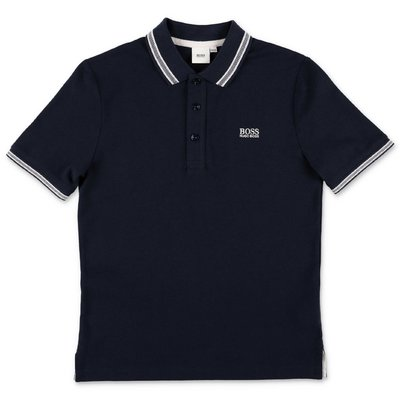 HUGO BOSS polo blu navy in piquet di cotone
