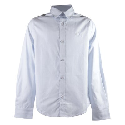 Light blue logo detail cotton poplin shirt