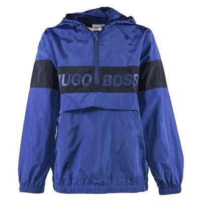 Blue logo detail nylon windbreaker with hood