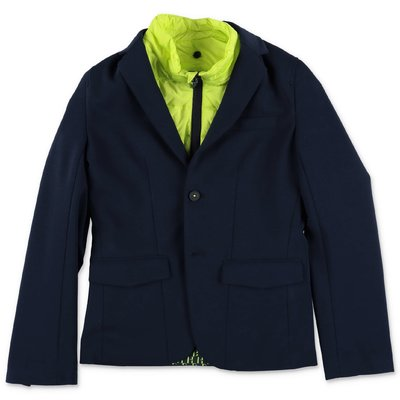 Hugo Boss navy blue cotton blend jacket with contrasting insert