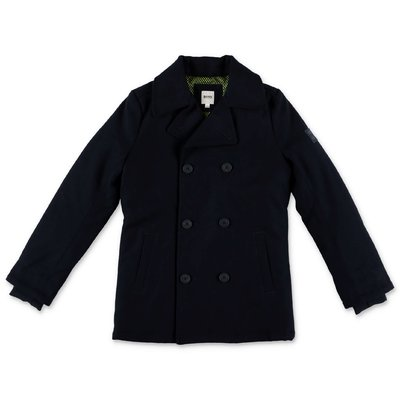 Hugo Boss cappotto blu navy in feltro di lana
