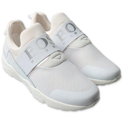 HUGO BOSS white breathable microfiber sneakers