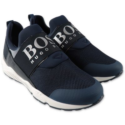 Hugo Boss navy blue microfiber sneakers with velcro