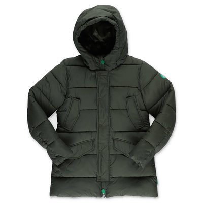 Save the Duck military green nylon down jacket wuth hood