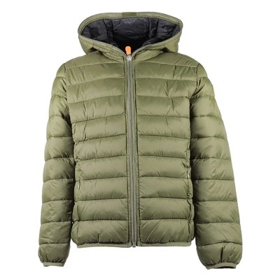 Military green hooded light down jacket