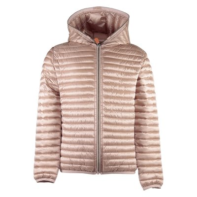 Powder pink quilted nylon padded jacket with hood