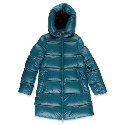 Save the Duck petrol green nylon down jacket with hood
