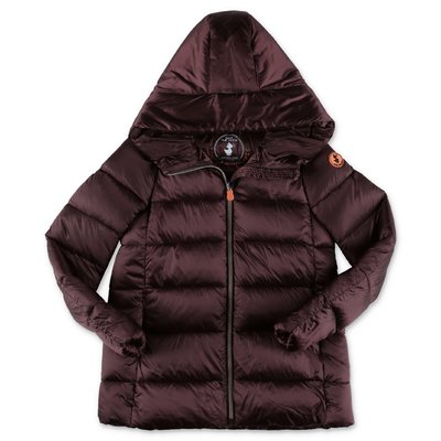 Save the Duck brown nylon down jacket with hood
