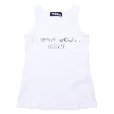 White cotton jersey tank top