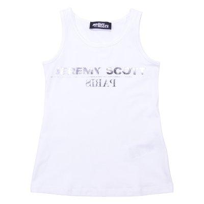 White cotton jersey tank top