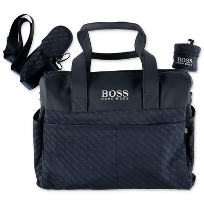Hugo Boss logo navy blue nylon changing bag