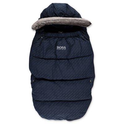 Hugo Boss sacco nanna blu navy in nylon con ecopelliccia