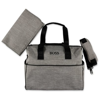 Hugo Boss logo marled grey nylon changing bag