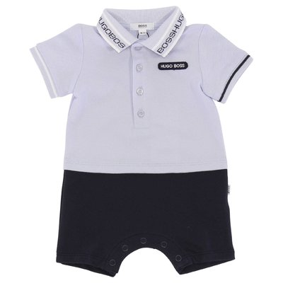 Blue and sky blue cotton piquet two-pieces effect romper