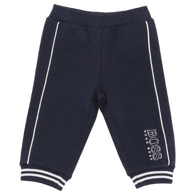 Pantaloni blu navy in felpa di cotone con logo