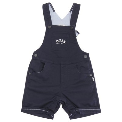 HUGO BOSS navy blue logo detail cotton overalls