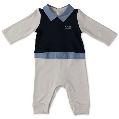 Hugo Boss white and blue cotton jersey three pieces effect romper