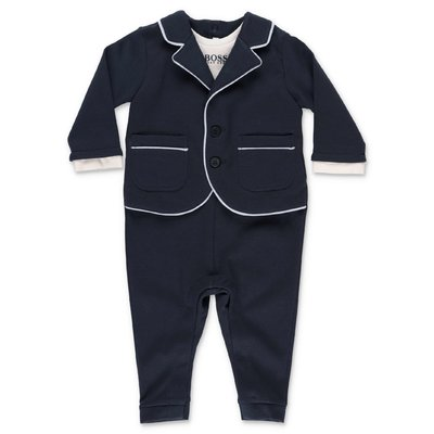 Hugo Boss navy blue modal cotton three piece effect romper
