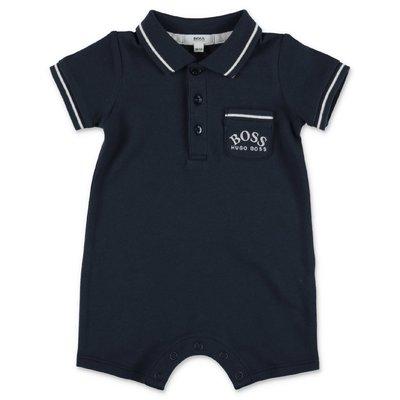 Navy blue cotton piquet HUGO BOSS baby boy polo style romper