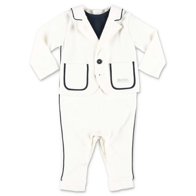HUGO BSS white cotton & modal three piece effect elegant romper
