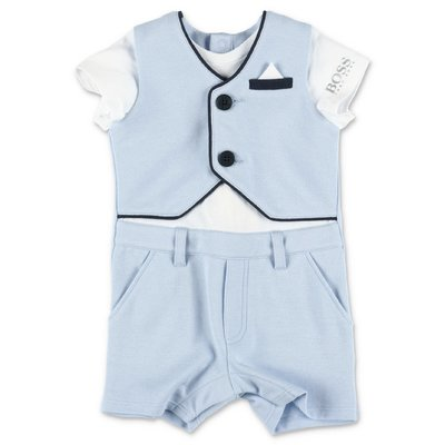 HUGO BOSS light blue cotton & modal three piece effect elegant romper